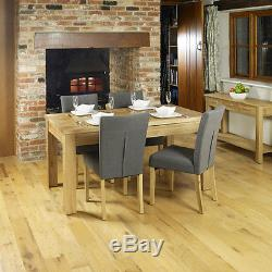 Fusion Solid Oak Wooden Furniture Grey Fabric Upholstered Chair Pair