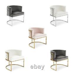 GF216 New Barcelona Luxury Brushed Velvet Upholstered Steel Dining Chairs
