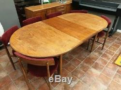 G Plan Fresco Oval Dining Table and 6 Upholstered Chairs Kofod Larsen
