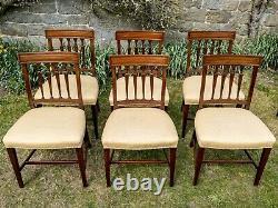 George III Set of 6 Mahogany Bar Back Upholstered Dining Chairs C1820 (Georgian)