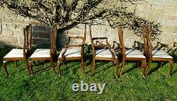 Georgian Chippendale Style Set of 6 Upholstered Dining Chairs & Carvers