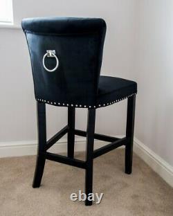 Giovanni Velvet Upholstered Kitchen Dining Chair Knocker Back Bar Stool Black