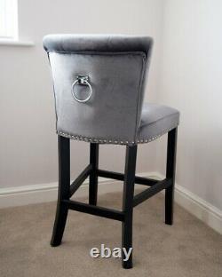 Giovanni Velvet Upholstered Kitchen Dining Chair Knocker Back Bar Stool Grey