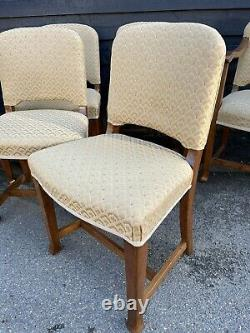 Good Quality Set Of 6 1930s Oak Frame & Upholstered Deco Style Dining Chairs