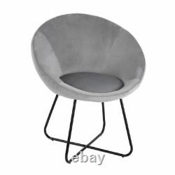 Gray Velvet Fabric Tub Accent Chair Armchair Dining Living Room Lounge Office