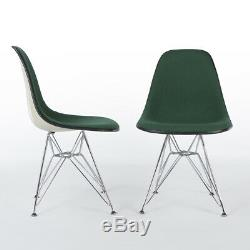 Green Pair (2) Herman Miller Vintage Eames Upholstered DSR Dining Side Chairs