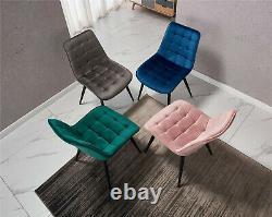 Grey 4 Velvet Upholstered Dining Chairs Retro Diamond Black Metal Legs Kitchen