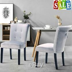 Grey Button Back Velvet Upholstered Dining Chairs Chrome Back Ring Knoc UK
