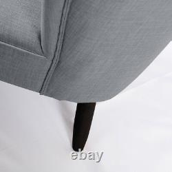 Grey Comfy Upholstered Chair Scroll Back Dining Chairs Linen with Oak Legs