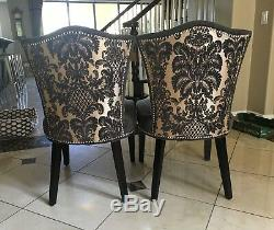 Grey Contemporary Upholstered Dining Chair With Wooden Legs Set of 4