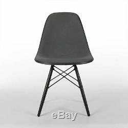Grey Herman Miller Original Eames Upholstered Black DSW Side Shell Chair