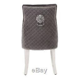 Grey Plush Velvet Upholstered Dining Chair With Lion Head Knocker