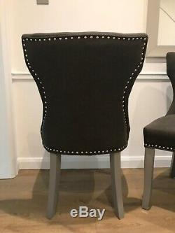 Grey Stud Upholstered Dining Chairs