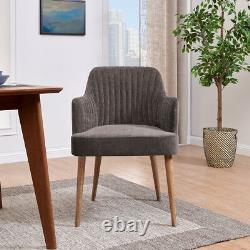 Grey Upholstered Tub Arm Chair Seat Oak Wash Wood Frame Chair Tub Ribbed Dining
