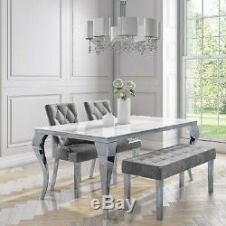 Grey Velvet Dining Bench with Chrome Legs Jade Boutique JAD008