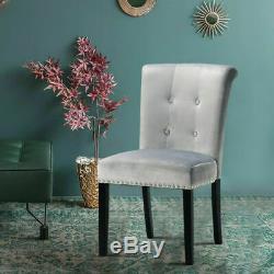Grey Velvet Dining Room Chairs Upholstered Knocker Kitchen High Back Chair NEW