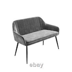Grey Velvet High Back Dining Bench Seats 2 Logan