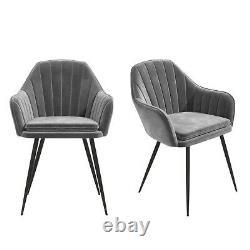Grey Velvet Tub Chairs with Black Legs Set of 2 Logan LOG002