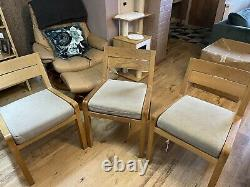 HABITAT Radius Solid Oak Dining Chair Upholster seat £100 each 3 available