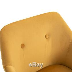 HOMCOM 2-PC Modern Upholstered Fabric Bucket Seat Dining Room Armchairs Yellow