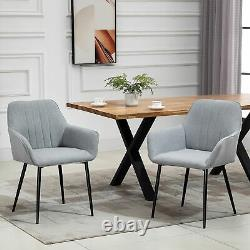 HOMCOM Dining Chairs Upholstered Linen Fabric Metal Legs, Set of 2