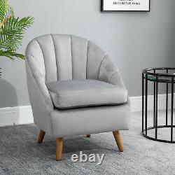 HOMCOM Velvet Fabric Single Sofa Dining Chair Solid Wood Leg Upholstered Grey