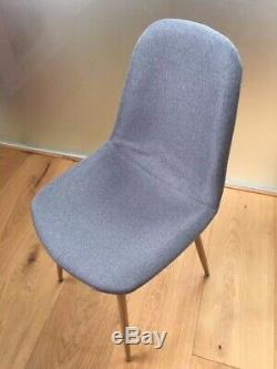 Halmstad Upholstered Dining Chairs (Set of 8) in Grey Cloth, wooden legs