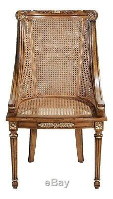 Hampton Dining / Side Chair with Rattan Cream Linen Upholstered Cushion CHRW004
