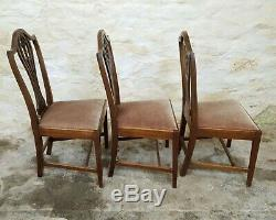 Hepplewhite Georgian Set of 6 Mahogany Upholstered Dining Chairs (Chippendale)