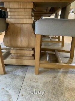 Huge Oak Table And 8 Upholstered Dining Chairs