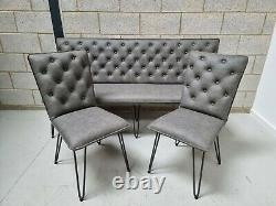 Industrial Retro 180cm Buttoned Back Grey Faux Leather Dining Bench & 2x Chairs