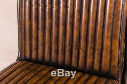 Industrial Style Upholstered Dining Chair Leather Look Kitchen Chairs In Brown
