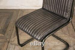 Industrial Style Upholstered Dining Chair Leather Look Kitchen Chairs In Grey