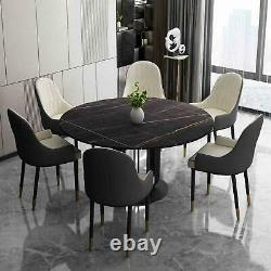 Jacqueline Round Marble Table with Six Upholstered Chairs Luxury Dining set
