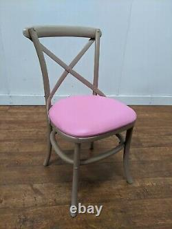 Job Lot 48 Newly upholstered Solid Wood Cross Back Dining Side Chairs Restaurant