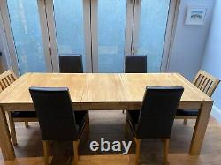John Lewis Monterey extending dining table and 6x upholstered chair oak leather