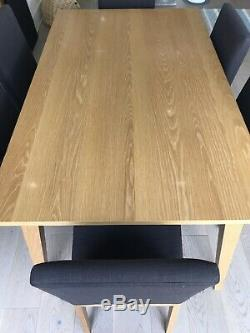 John Lewis Stride Dining Table Extender And 4 Stride Oak Upholstered Chairs