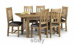 Julian Bowen Astoria Solid Oak Waxed Oak Extending Table & Chairs Chunky Design