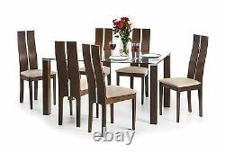 Julian Bowen Cayman Solid Wood Beech Walnut Finish Set of 2 Dining Chair