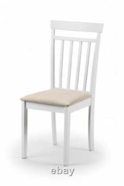 Julian Bowen Coast White Wood 2 x Kitchen Dining Chair Wooden Pair