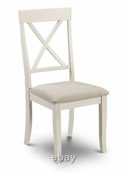 Julian Bowen Davenport Oak Ivory 2 x Dining Chair Solid Wood Fabric Seat