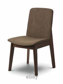 Julian Bowen Kensington Walnut Fabric 2 x Dining Chair Solid Wood