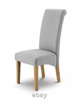 Julian Bowen Rio Scrollback Shale Grey Linen Fabric & Oak Dining Chair