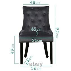 Kaylee Grey Velvet Dining Chairs with Black Legs Set of 2 KLE003