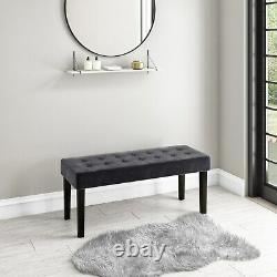 Kaylee Grey Velvet Hallway Bench with Black Legs