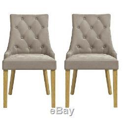 Kaylee Mink Velvet Dining Chairs with Oak Legs Set of 2 KLE002M