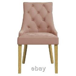 Kaylee Pink Velvet Dining Chairs with Oak Legs- Set of 2 KLE007