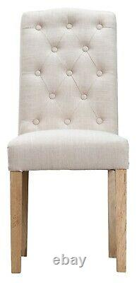 Kettle Interiors 2 x Beige Button Back Upholstered Dining Chairs RRP £198
