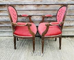 LOVELY PAIR OF ANTIQUE 19th CENTURY FRENCH UPHOLSTERED SALON CHAIRS, C1900