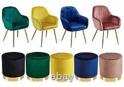 Lara Velvet Dining Chairs (Pair) & Pouffes Blue, Green, Pink, Black & Yellow